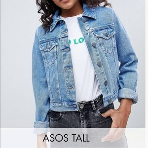 Asos Tall Denim Shrunken Jacket in Midwash Blue